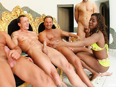 Interracial oral bang and bukkake for ebony skank Jasmine