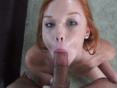Adorable redhead gal Alex Tanner shows what she's got on casting