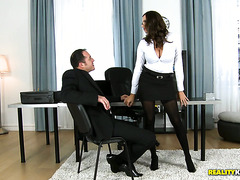 Lady boss with monster curves Sensual Jane fucks her cocky subordinate