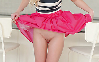Sweet blonde newcomer Candy strips down completely naked