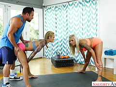 Fitness coach fucks two married MILFs Nina Elle and Sarah Jessie