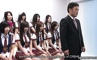 Ten Japanese college girls show tits and get their pussies licked