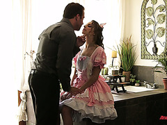 Kimmy Granger takes on a cute dress and fucks like a slut