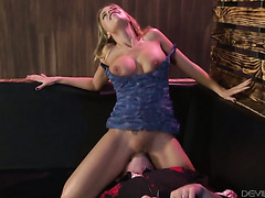 Britney Amber gets fucked hard in her hairy pussy and between huge tits