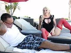 Luxurious blonde MILF Leya Falcon fucks her nerdy stepson