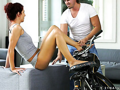 Shona River teases a biker with her sexy feet and rides him on a table