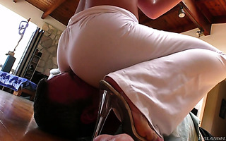 Cherie DeVille forces him to eat her ass through pants and gets her butt toyed
