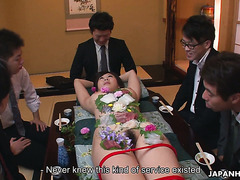 Nyotaimori naked sushi ceremony and gangbang with Yume Sorano