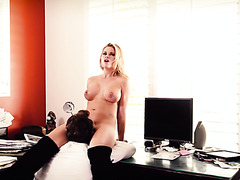 Raunchy blonde hoe Jessa Rhodes fucks her boss in office