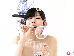 Cute Nozomi Koizumi blows bubbles in bath and gets banged by two Asians