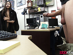 Cute girl fucks a big cock pawnshop guy to get money she needs