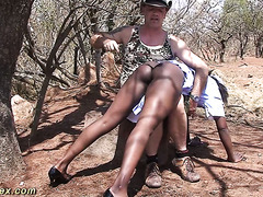 African housemaid gets spanked by white man and suck his dick outdoors