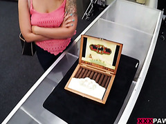 Layla London fucks a pawn broker to sell her illegal Cuban cigars