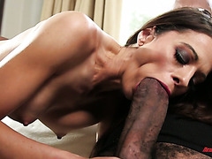 Experienced Eva Long takes monster black cock in all holes