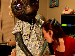 Jodi Taylor gets fucked by her bf and an alien in E.T. parody