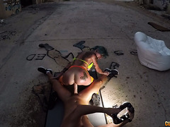 Nasty outdoor fuck with tatooed Spanish puta Onix Babe in a ghetto