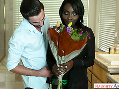 Ebony Osa Lovely lets white guy butt slam her for bringing her fav flowers