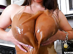 Chubby Angela White services a cock with her monstrous tits and vagina