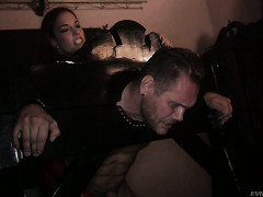 Diabolic Yasmin Scott dominates Nacho with a strapon in a dirty basement