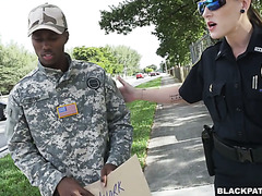 White female cops arrest a black guy for stolen valor and fuck him