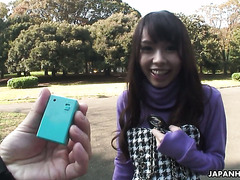 Eri Ouka walks in park with vibro egg in her panties and gives a BJ