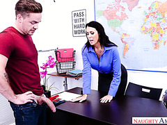 A student pulled his cock and his teacher Reagan Foxx couldn't resist
