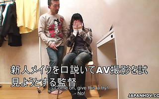 Porn makeup artist Ryo Sasaki gets fucked by a porn actor during lunch break