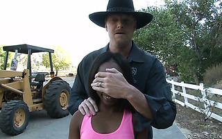Caring redneck stepdad charms black babe Sarah Banks with a present