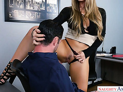 Angry lady boss Nicole Aniston calms down only when he starts fucking her