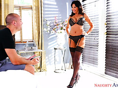 Lezley Zen teases in her erotic lingerie and jumps on his big cock