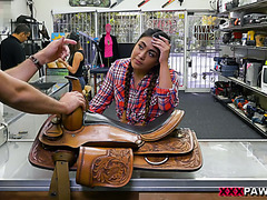 A sexy Texas girl Lexy Bandera gets ass fucked in a pawnshop