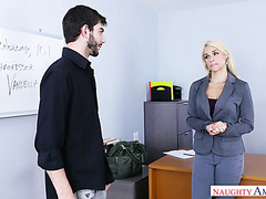 A student fucks his slutty professor Sarah Vandella to get a better grade