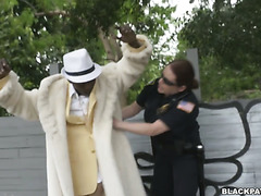 Black pimp becomes a bitch of two female police officers with huge asses