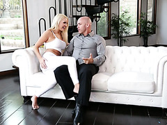 Kenzie Taylor seduces her stedaddy with her yoga pants and sexy feet