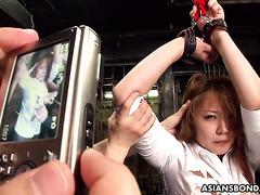 Наглая офисная сука Хината Комине связана и отдрючена секс-игрушками в подвале