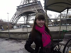 A guy picks up Luna Rival near Eiffel Tower and fucks her French hole
