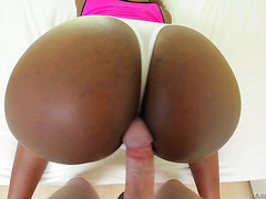 White dude rubs his cock on Skyler Nicole's ebony ass until he cums
