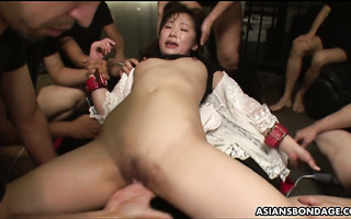 Dudes walk Ai Mizushima on leash and toy the shit outta her