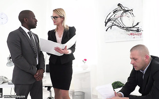 Two office guys show their skills to their new lady boss Cherry Kiss