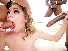 Angel Smalls got face fucked by multiple dudes and spoon fed with jizz