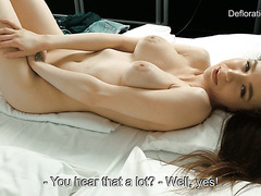 Angel Rush aka Koza Dereza proves her virginity and orgasms on cam