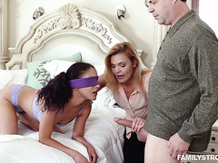 Blindfolded Liv Revamped gets fucked by stepdad while stepmom is giving instructions