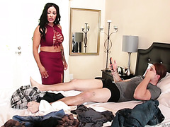 Sausy Latina stepmom Simone Garza is getting banged by her arrogant and lazy stepson