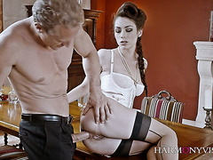 Classy Russian lady Arwen Gold gets banged in each hole on a table