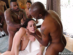 Crazy Chanel Preston gets fucked in each hole by a crowd of black homies