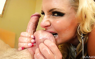 Experienced Phoenix Marie performs a dirty and nasty sloppy blowjob
