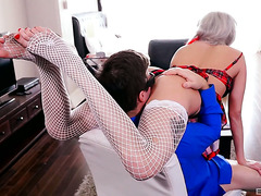 Annoying blonde college chick Vyxen Steel makes teacher fuck her hard