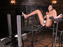 Solo with Sadie Santana getting her pussy pleasured by a fucking machine