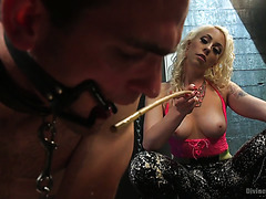 Lorelei Lee humiliates a guy, rides his dick and makes him drink his own jizz
