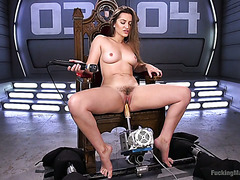 Dani Daniels stripteases and uses her fucking machines